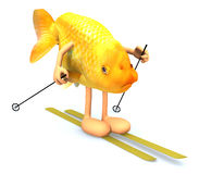 Gold fish with arms and legs, ski and stick Stock Photography