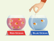 Gold fish in bowls which one is contained red water and the other contained blue water. Vector of blue ocean and red ocean business strategy concept Royalty Free Stock Photography