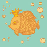 Gold fish with a crown in the sea. Cartoon drawing illustration Royalty Free Stock Photography