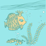 Gold fish with a crown in the sea environment. Cartoon drawing illustration Stock Photos