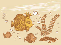 Gold fish with a crown in the sea environment. Cartoon drawing illustration Royalty Free Stock Photography