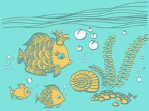 Gold fish with a crown in the sea environment. Cartoon drawing illustration Royalty Free Stock Photos