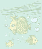Gold fish with a crown in the sea environment. Gold fish with a crown in the sea. Cartoon drawing illustration Royalty Free Stock Photos