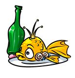 Gold fish culinary dish cartoon illustration Stock Image