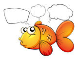 A gold fish and the empty callouts. Illustration of a gold fish and the empty callouts on a white background Royalty Free Stock Photos