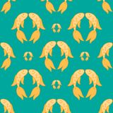 Gold fish exotic aquarium pet, sea background, summer water seamless pattern Royalty Free Stock Photo