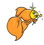 Gold fish fairy magic cartoon illustration Royalty Free Stock Images