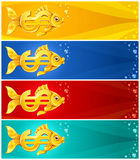 Gold fish in form of dollar currency sign Royalty Free Stock Photography