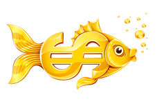 Gold fish in form of dollar currency sign Royalty Free Stock Image
