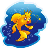 Golden fish princess vector animation illustration.  Stock Photo
