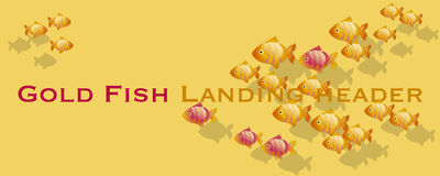 Gold fish header template. Goldfish vector illustration. lending page header Stock Photography