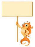 Gold fish holding blank banner. Cartoon styled vector illustration. No transparent objects. Isolated on white Royalty Free Stock Images