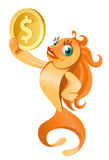 Gold fish holding dollar symbol. Cartoon styled vector illustration.  Isolated on white Stock Photos