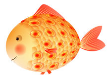 Gold fish with a pattern on the scales. Children's illustration. Royalty Free Stock Images