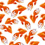 Gold fish. Pattern. watercolor background Royalty Free Stock Photos