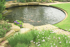 A gold fish pond in the garden. An image of a well designed gold fish pond in a garden with paths and surrounding lawn and flower beds Stock Image