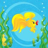 Gold fish and seahorses Royalty Free Stock Photos