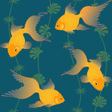 Gold fish seamless pattern Stock Images