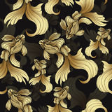 Gold fish, seamless pattern. Decorative abstract fish, with golden scales, curled fins on black background. Jewel ornament. Rich, Stock Photography