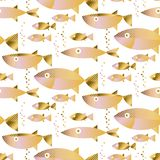 Gold fish seamless pattern in pastel color. Cute seafood concept geometric motif for background, fabric, wrapping paper, poster, menu cover stock illustration