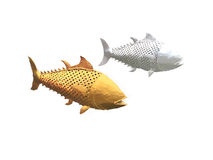 Gold fish and silver fish made by scrap steel. Hand made stock illustration