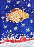 Gold Fish in the starry sky. Image of my batik artwork with a Gold Fish in the starry sky stock illustration