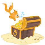 Gold Fish and Treasure Chest Royalty Free Stock Image