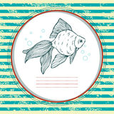 Gold fish. Vector card. Gold fish. Hand drawn illustration Stock Photo