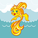 Gold fish. Vector illustration. Goldfish on a background of waves and sky. Vector illustration Stock Images
