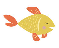 Gold fish vector illustration. Gold fish nature marine fish bowl tropical underwater vector pet.  on white goldfish underwater pet living in fish bowl. Aquatic Stock Image