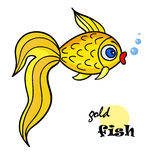 Gold fish yellow2-01. One bright goldfish with bubble.Isolated on a white background. Beautiful funny cartoon character.Cute vector illustration for children stock illustration