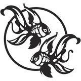 Gold fishes dance in circle. Two black and white gold fishes dancing in the circle in front of each other hand drawing royalty free illustration