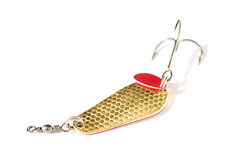 Gold fishing spoon with big hook Stock Photo