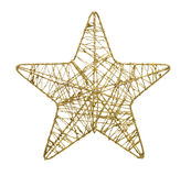 Gold five pointed star christmas decoration Royalty Free Stock Photo
