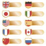 Gold flag tabs Royalty Free Stock Image