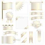 Gold flags and ribbons Royalty Free Stock Photo