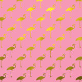 Gold Flamingos Pattern Flamingo Faux Foil Polk Dots Pink Stock Image