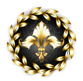 Gold Fleur-de-lis with a laurel wreath Stock Photos
