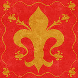 Gold Fleur de Lys on a Red Background Royalty Free Stock Photo