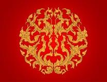Gold Flora Art Pattern Stock Image