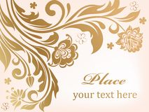 Gold floral background with decorative flowers Royalty Free Stock Image