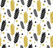 Gold floral background. Vector glitter seamless pattern with lea Royalty Free Stock Images