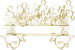 Gold Floral Banner. On white background Stock Photos