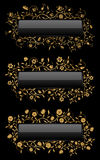 Gold floral banners Royalty Free Stock Photos