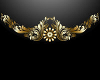 Gold Floral Luxury Background. Gold Floral on black background Royalty Free Stock Photo