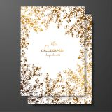 Gold floral card template with abstract plants. Template frame for birthday and greeting card, wedding invitation, save the date, vector illustration