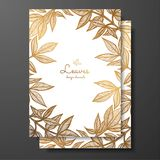Gold floral card template with peony leaves. Template frame for birthday and greeting card, wedding invitation, save the date, not. Ebook. Beautiful golden frame royalty free illustration