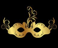 Gold floral carnival mask isolated Stock Image