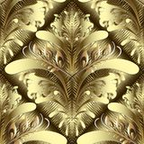 Gold floral 3d Damask vector seamless pattern. Stock Photos