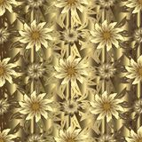 Gold floral 3d vector seamless pattern. Textured relief drapery. Gold background. Baroque style antique 3d flowers, scroll leaves. Surface silk texture. Vintage Royalty Free Stock Images